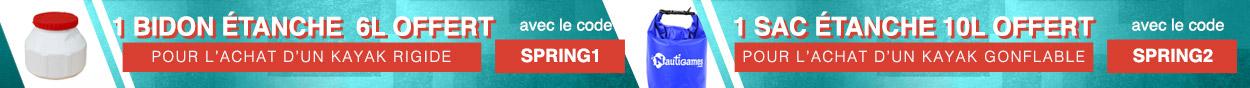 1 bidon étanche ou un sac étanche offert pour tout kayak gonflable ou rigide acheté