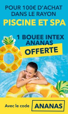 1 bouée ananas offerte pour 100€ d'achat dans le catalogue piscines et spa