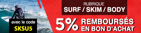 5% remboursés sur la rubrique surf avec le code SKSU5