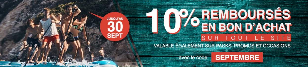 10% remboursés en bon d'achat sur tout le site