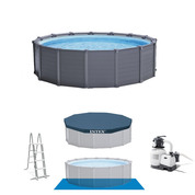 PISCINE TUBULAIRE RONDE INTEX PVC GRAPHITE 4.78 X 1.24 M