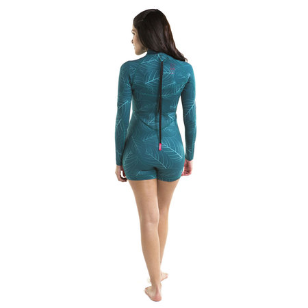SHORTY JOBE SOFIA 3/2 FEMME BACKZIP MANCHES LONGUES TURQUOISE