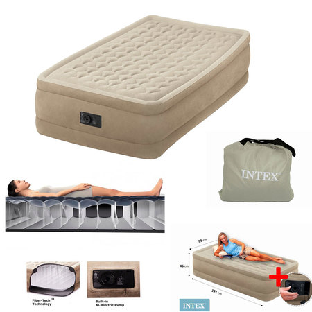 MATELAS GONFLABLE ELECTRIQUE 1 PLACE INTEX ULTRA PLUSH FIBER-TECH 64456