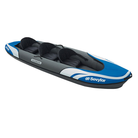 PACK KAYAK SEVYLOR HUDSON KCC360 BLEU + X2 PAGAIE WOW KAYAK + GONFLEUR DOUBLE ACTION BRAVO 4