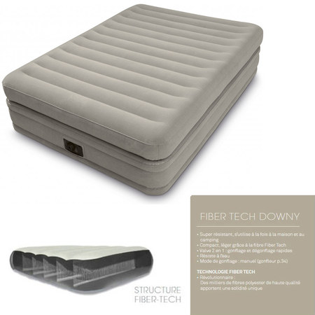 LIT GONFLABLE ELECTRIQUE INTEX TWIN COMFORT ELEVATED AIRBED FIBER 64446