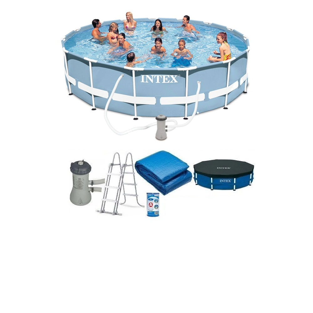 Piscine tubulaire ronde intex prism frame 4m57 x 1m07 pas for Piscine ronde intex