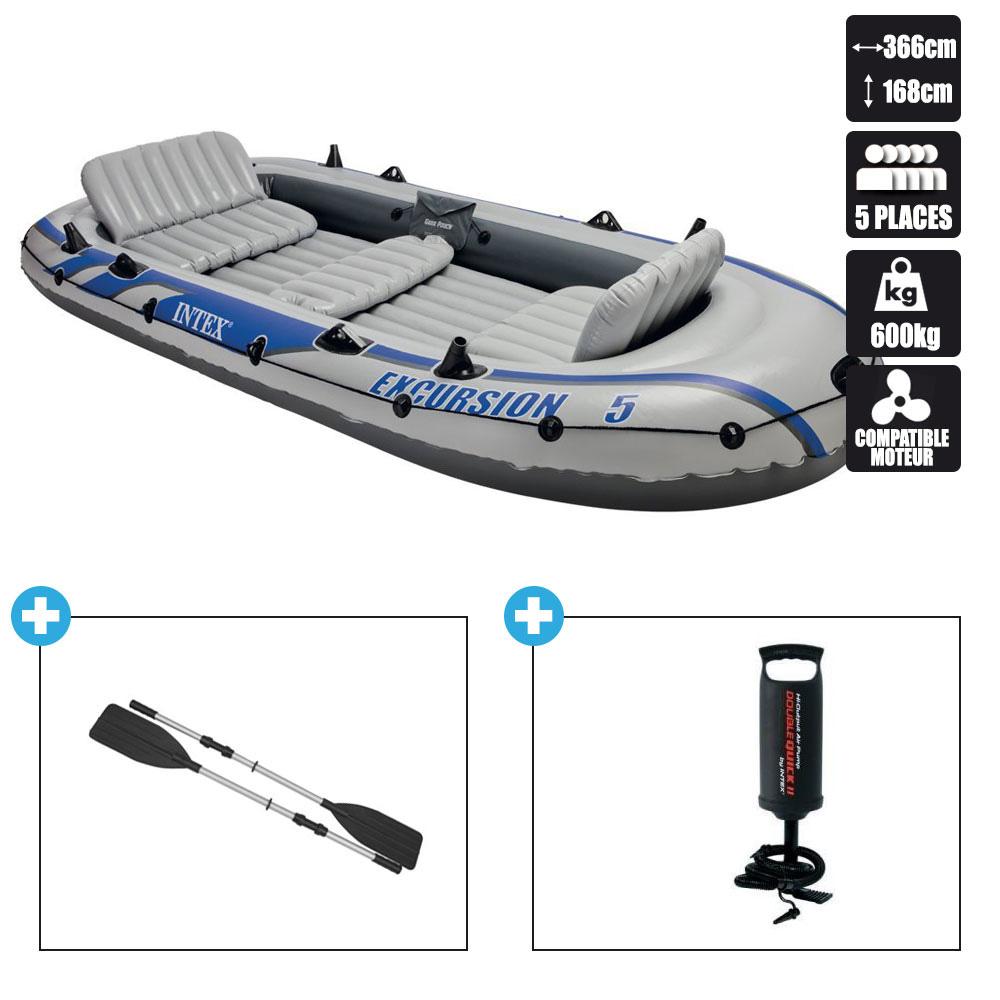 Intex Excursion Jeu de bateau gonflable 68325NP 5 places avec rames et pompe