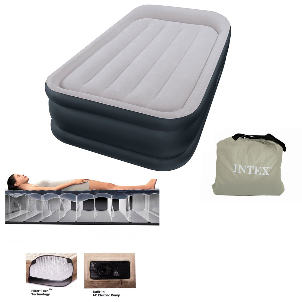 Lit intex rest bed fiber tech 1 place electrique 64132 pas - Lit gonflable intex ...
