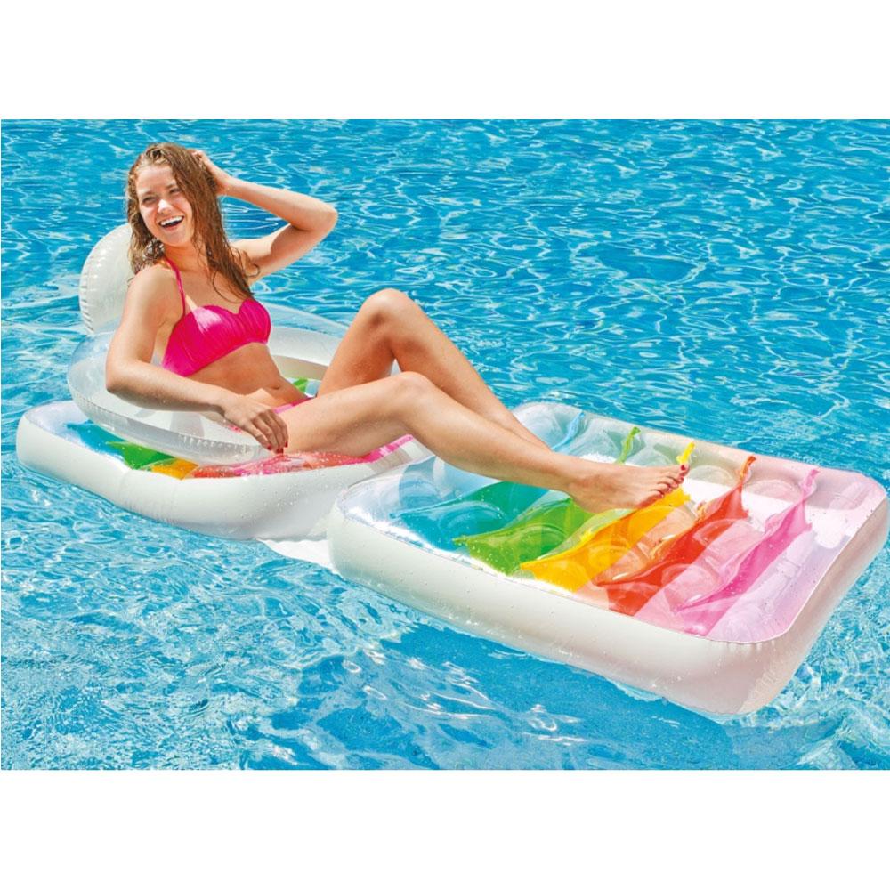 Matelas fauteuil de piscine intex arc en ciel pas cher en for Matelas piscine intex