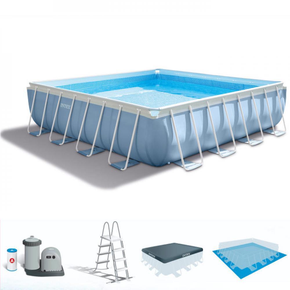 Kit piscine intex prism frame 488 x 488 x 122cm pas cher for Zwembad vierkant intex