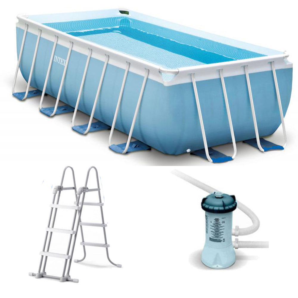 Kit piscine intex prism frame rectangulaire 4m88 x 2m44 x for Piscine intex tubulaire en solde